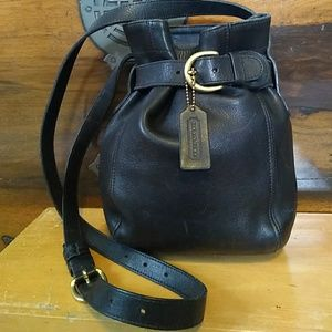 Coach Vintage Black Leather Bucket Bag